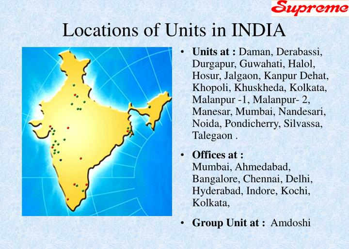Locations of units in india
