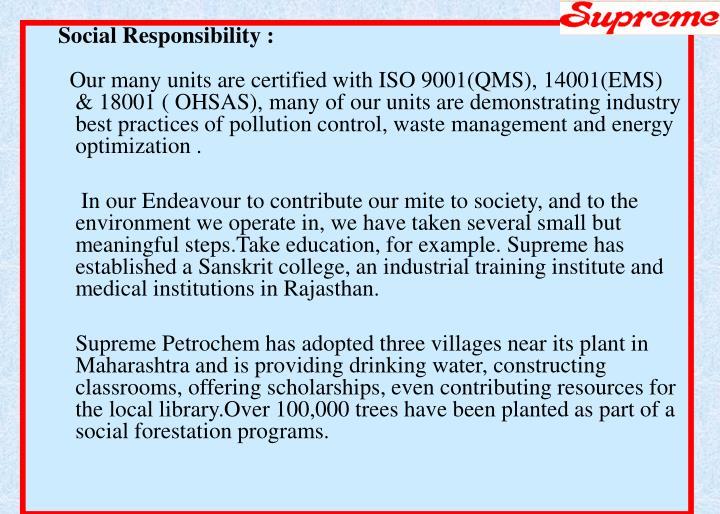 Social Responsibility :