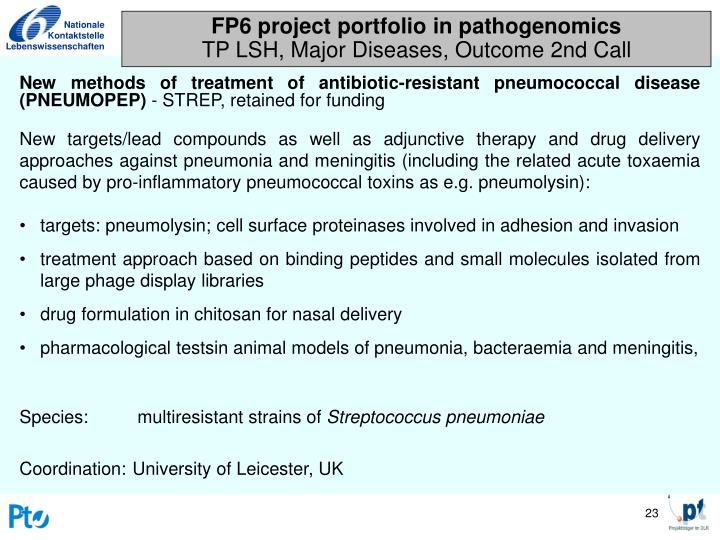 FP6 project portfolio in pathogenomics