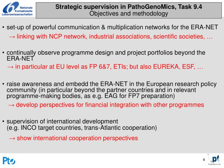 Strategic supervision in PathoGenoMics, Task 9.4