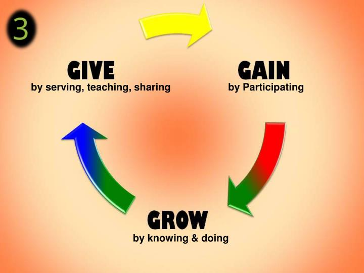 by serving, teaching, sharing