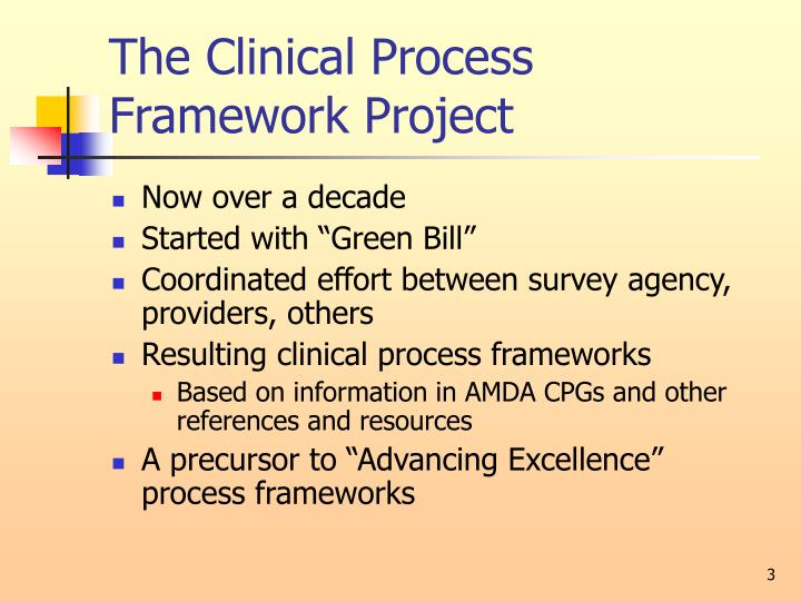 The clinical process framework project