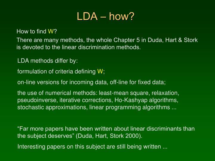 LDA – how?