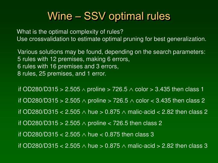 Wine – SSV optimal rules