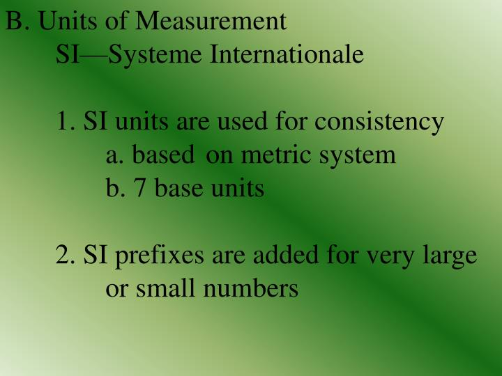 B. Units of Measurement