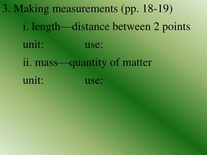 3. Making measurements (pp. 18-19)