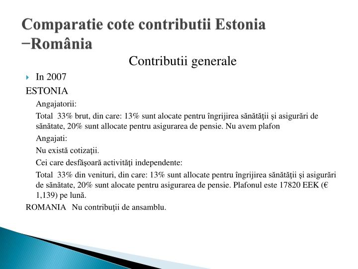 Comparatie cote contributii Estonia −România