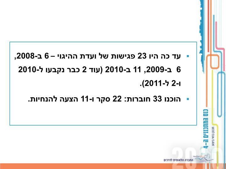 עד כה היו 23 פגישות של ועדת ההיגוי – 6 ב-2008, 6  ב-2009, 11 ב-2010 (עוד 2 כבר נקבעו ל-2010 ו-2 ל-2011).