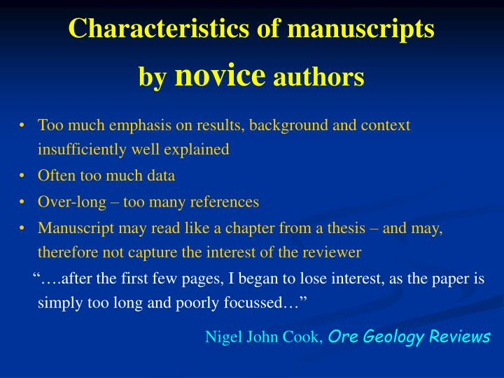 Characteristics of manuscripts