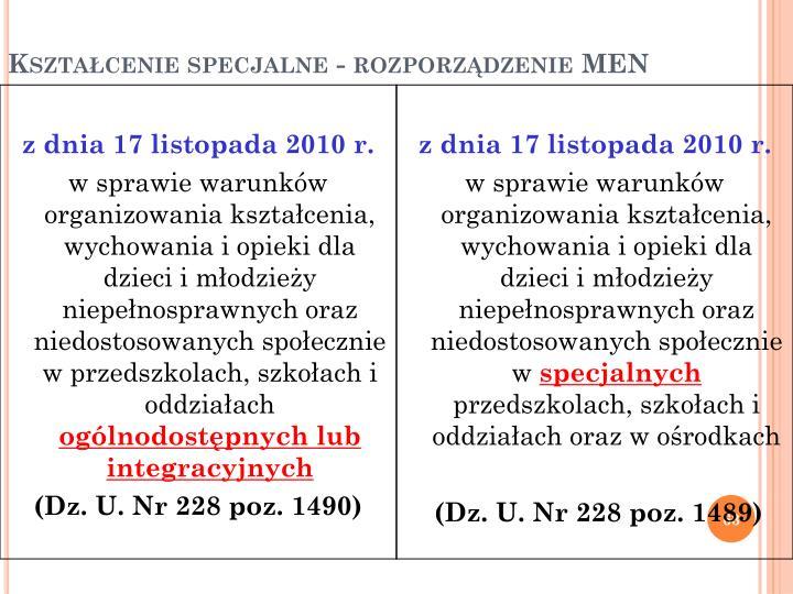 Kształcenie specjalne - rozporządzenie MEN
