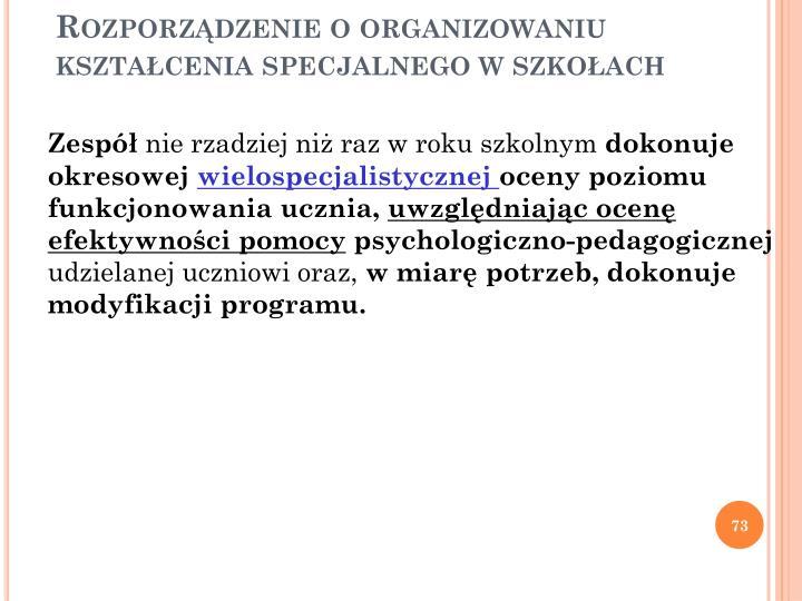 Rozporządzenie o organizowaniu kształcenia specjalnego w szkołach