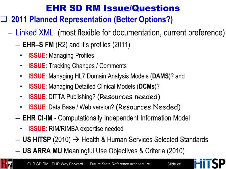 EHR SD RM Issue/Questions