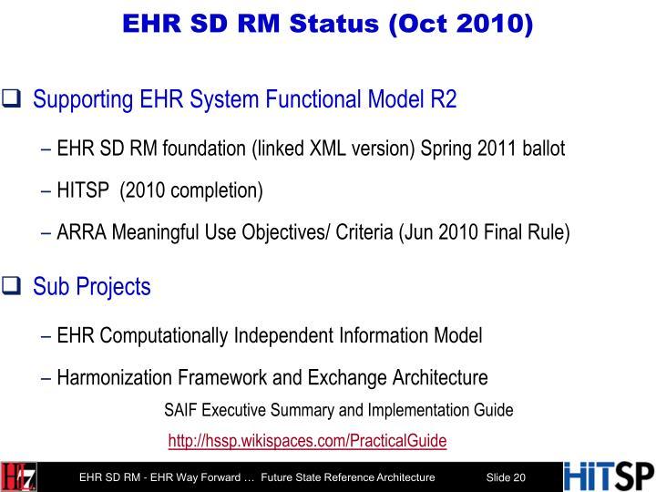 EHR SD RM Status (Oct 2010)