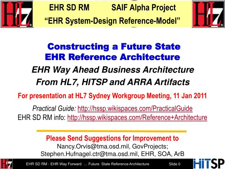 EHR SD RM           SAIF Alpha Project