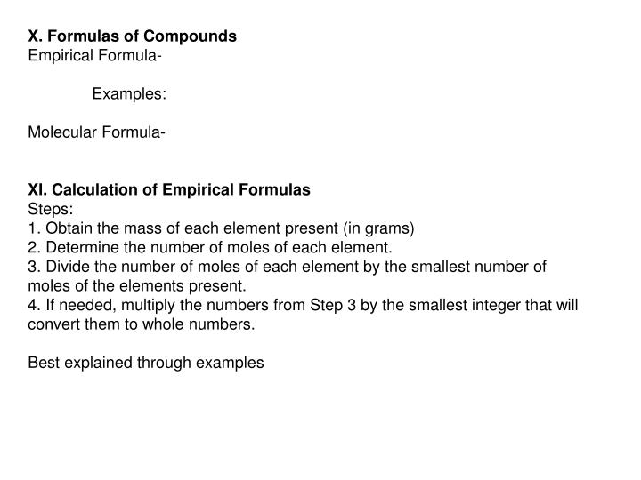 X. Formulas of Compounds