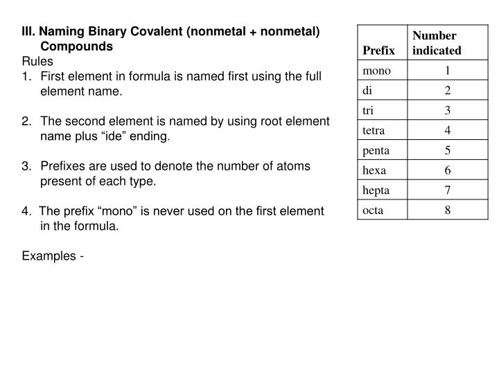 III. Naming Binary Covalent (nonmetal + nonmetal) Compounds
