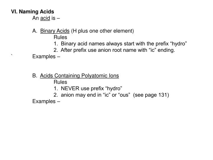 VI. Naming Acids