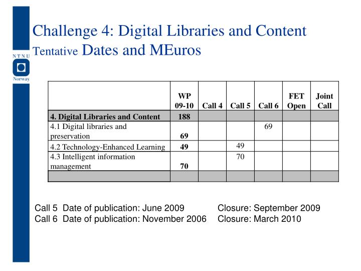 Challenge 4: Digital Libraries and Content