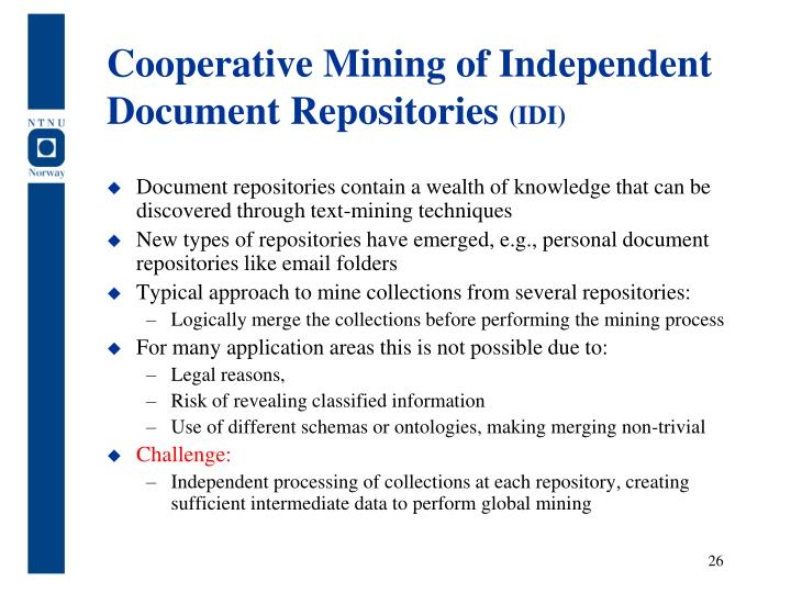 Cooperative Mining of Independent Document Repositories
