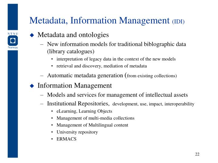 Metadata, Information Management