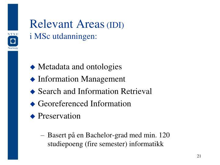 Relevant Areas