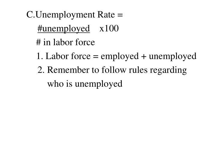 C.Unemployment Rate =