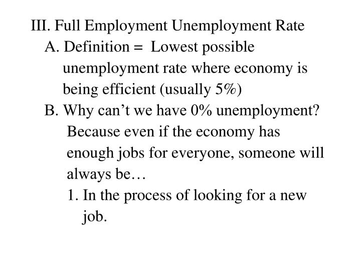 III. Full Employment Unemployment Rate