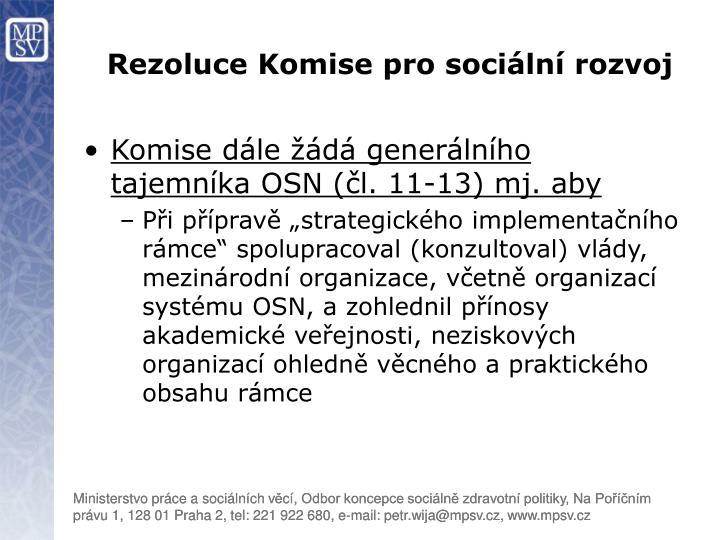 Rezoluce Komise pro sociální rozvoj