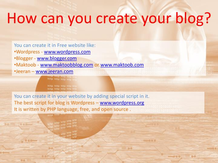 How can you create your blog?