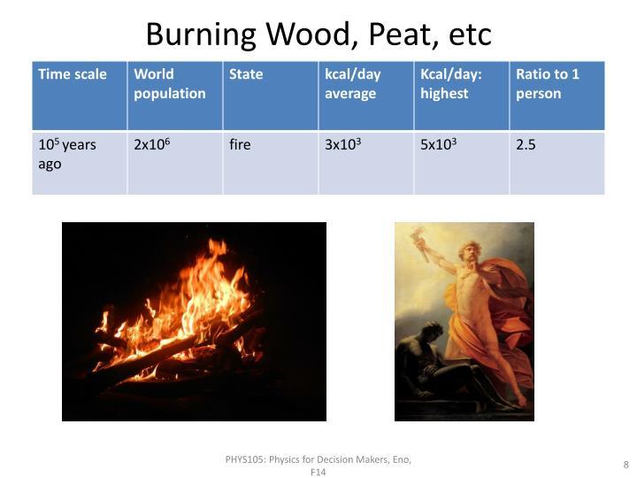 Burning Wood, Peat,