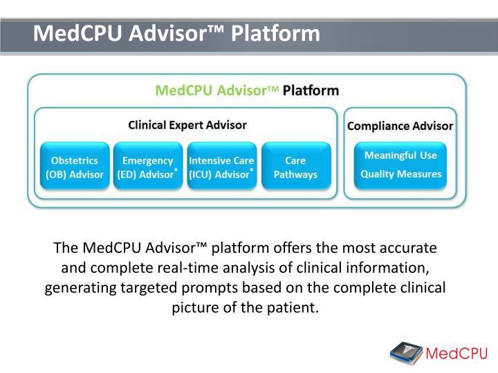 MedCPU Advisor™ Platform