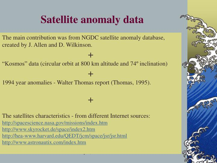 Satellite anomaly data