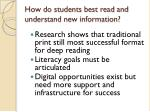 how do students best read and understand new information