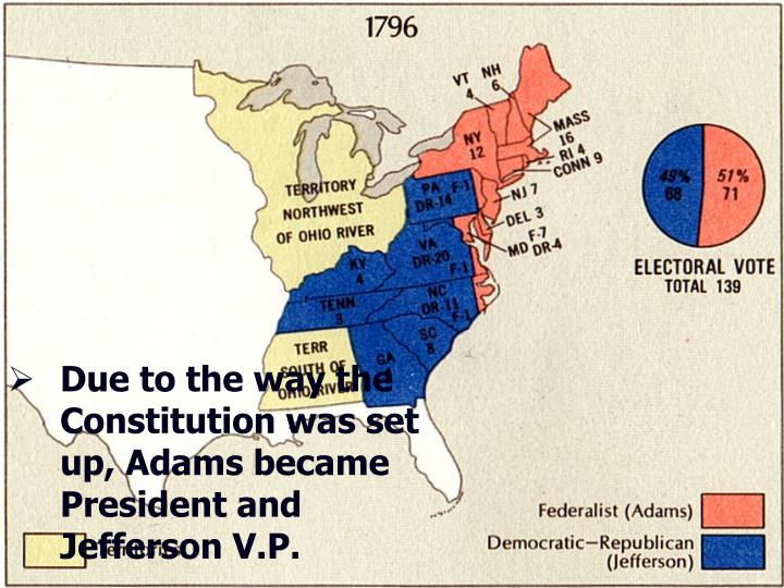 Due to the way the Constitution was set up, Adams became President and Jefferson V.P.