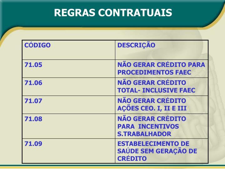 REGRAS CONTRATUAIS