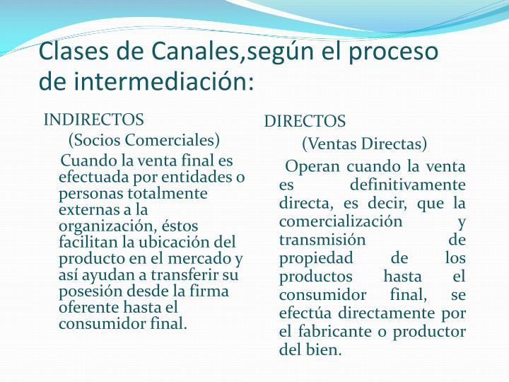 Clases de Canales,según el proceso de intermediación: