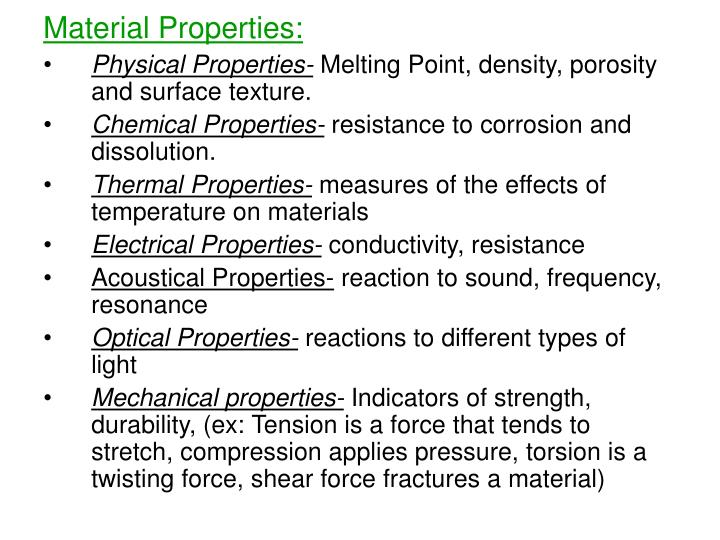Material Properties: