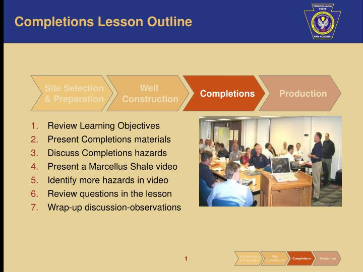 Completions lesson outline