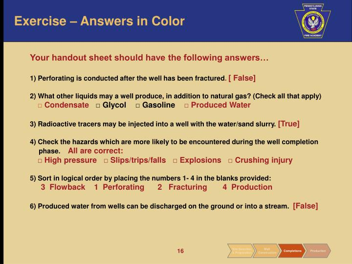 Exercise – Answers in Color