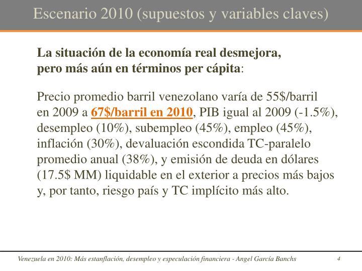 Escenario 2010 (supuestos y variables claves)