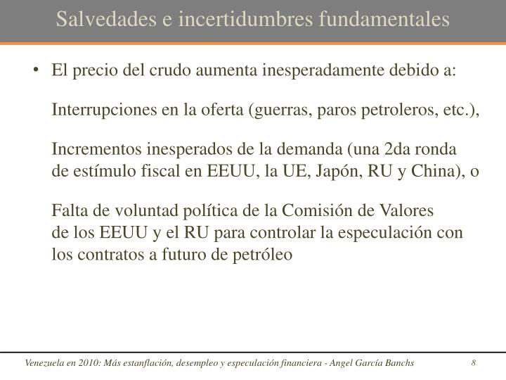 Salvedades e incertidumbres fundamentales