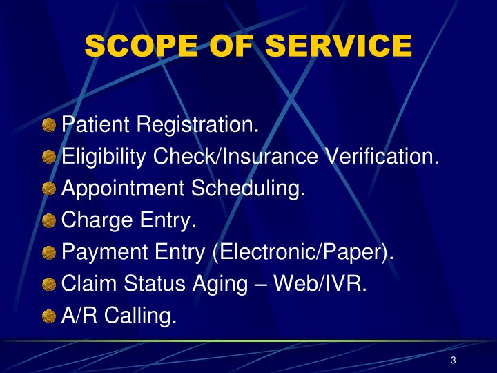 SCOPE OF SERVICE