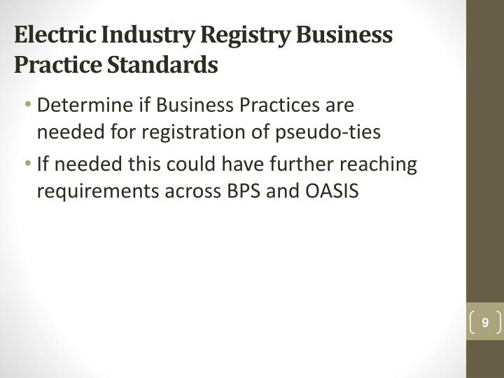 Electric Industry Registry Business Practice Standards