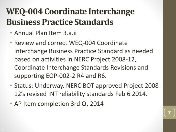 WEQ-004 Coordinate Interchange Business Practice Standards