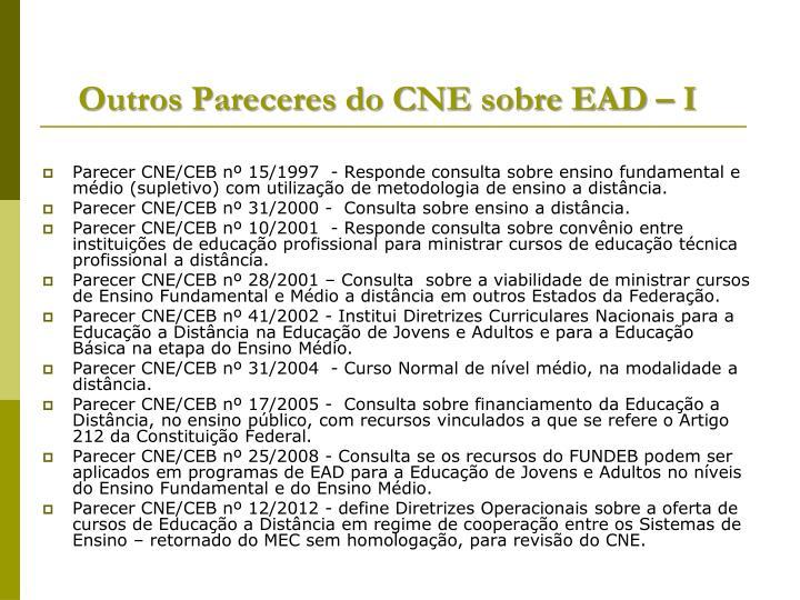 Outros Pareceres do CNE sobre EAD – I