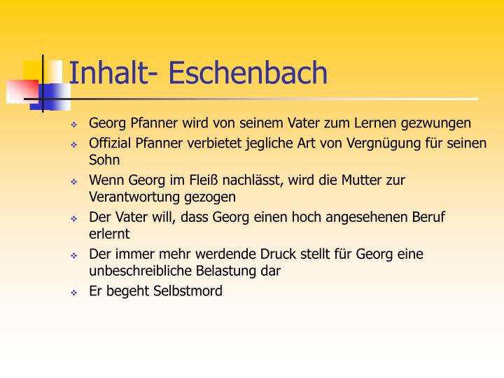 Inhalt- Eschenbach