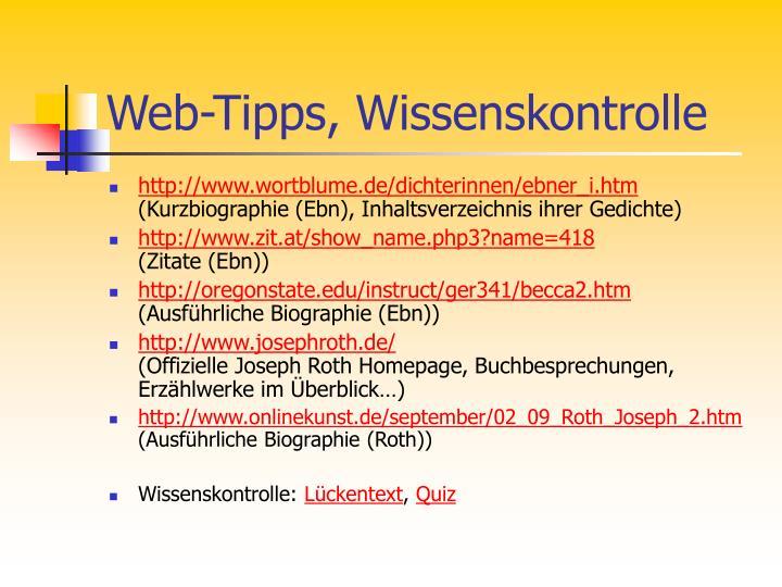 Web-Tipps, Wissenskontrolle