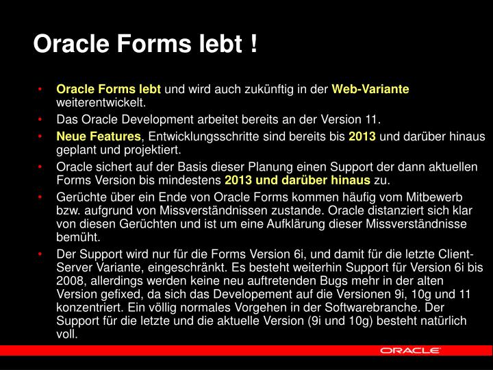Oracle Forms lebt !