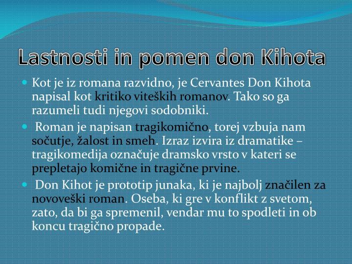 Lastnosti in pomen don Kihota