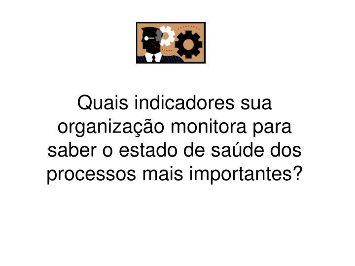Quais indicadores sua organização monitora para saber o estado de saúde dos processos mais importantes?